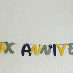 guirlande anniversaire moulin vent bleu nuit gris jaune