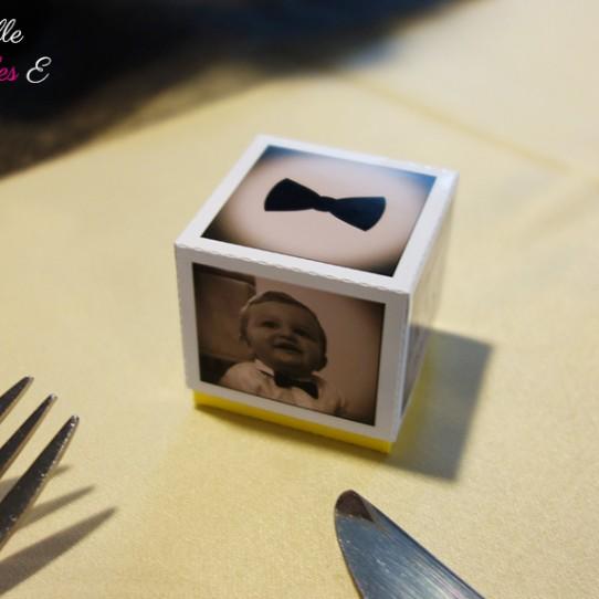 boite dragées photo sepia jaune 1