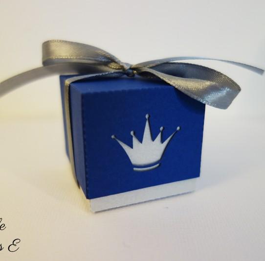 boite dragée double couronne prince argent bleu nuit