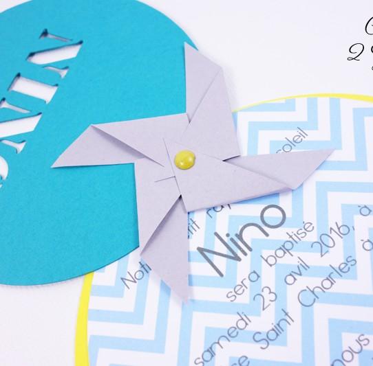 faire-part rond moulin vent prenom bleu bermude jaune gris 3