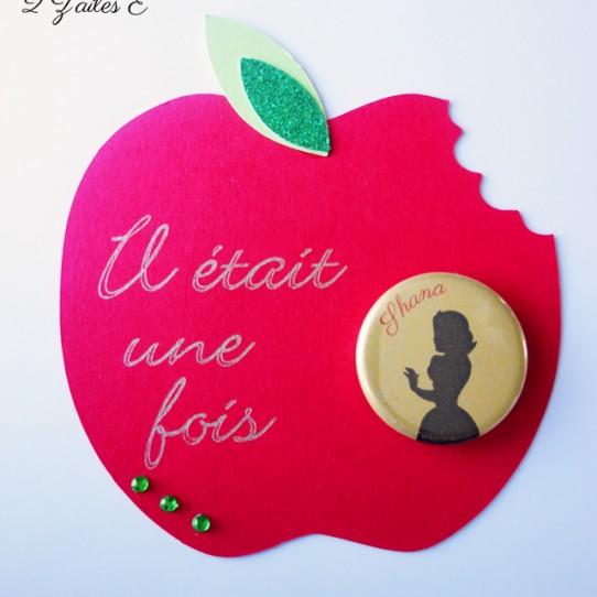 faire-part pomme croquée rouge blanche neige 1