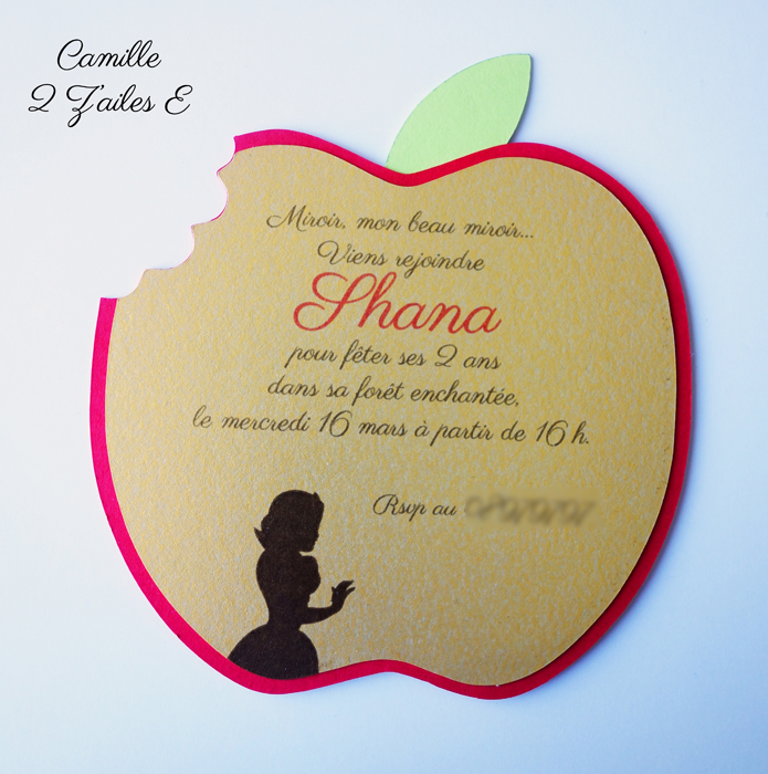 Invitation Pomme croquée — Princesse Blanche-neige ...
