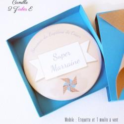 badge magnet miroir moulin vent bleu taupe 2
