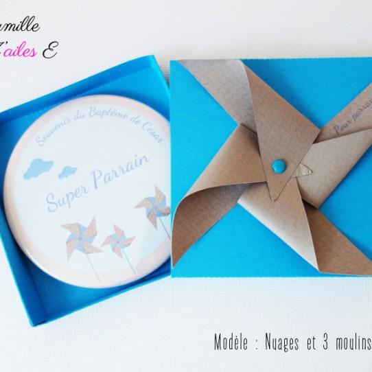 badge magnet miroir moulin vent bleu taupe