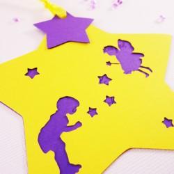 faire-part etoile fee petit garcon jaune violet 2