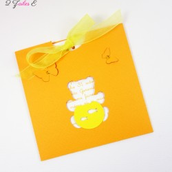 faire-part pochette ourson papillon poisson orange jaune 1