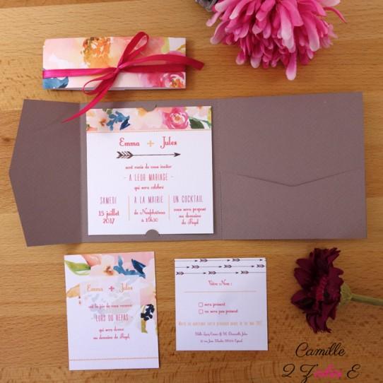 faire-part-pochette-cartons-fleuri-taupe-4
