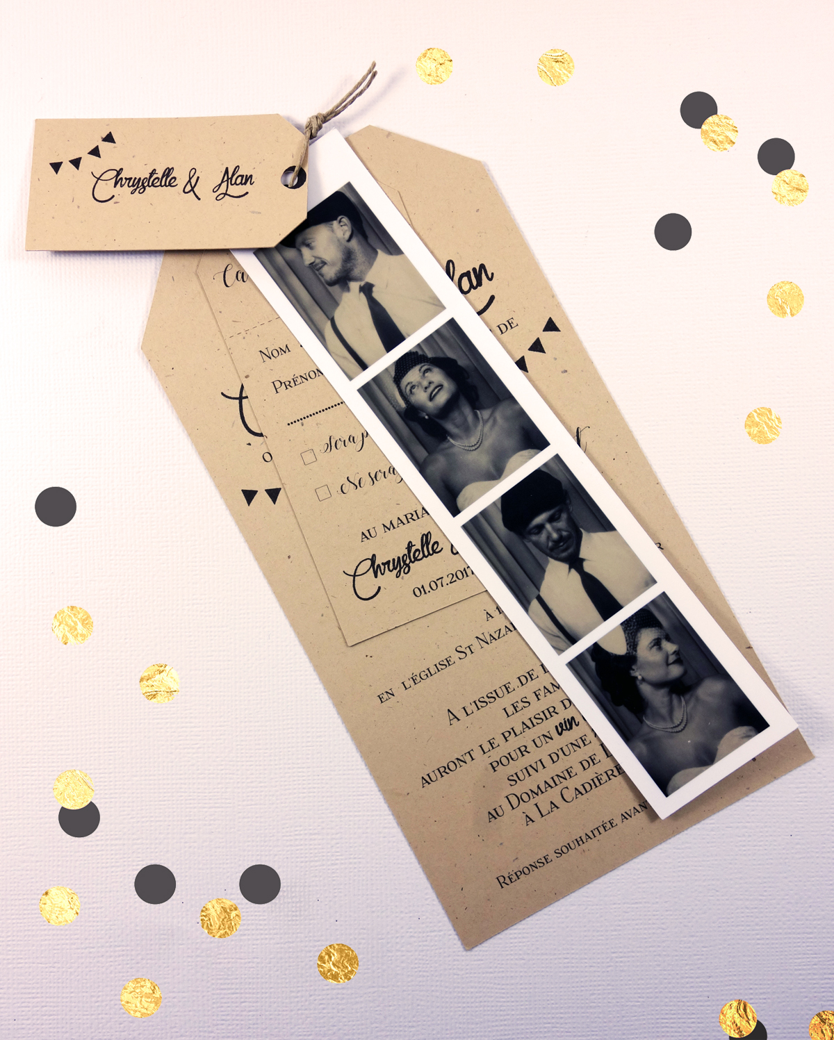 Favori Faire-part Photomaton Vintage – Retro | Camille 2 z\'ailes E  XK15