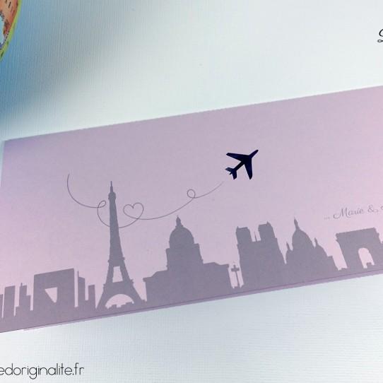 faire-part pochette billet avion lilas blanc irisé violet 1