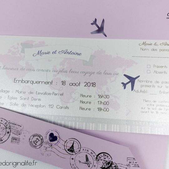 faire-part pochette billet avion lilas blanc irisé violet 2