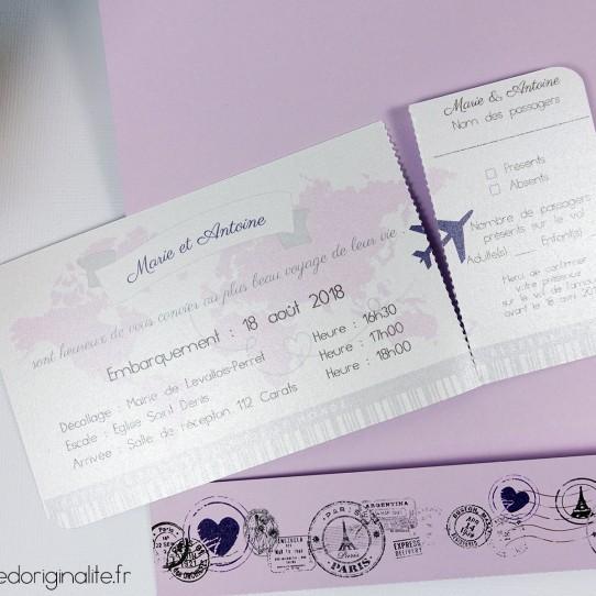 faire-part pochette billet avion lilas blanc irisé violet 3