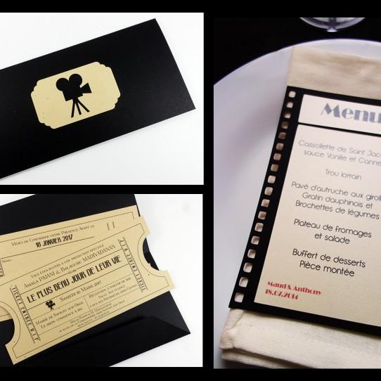 collection faire-part menu cinema