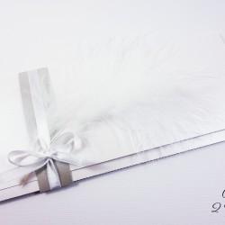 faire-part plume blanc irisé argent 1bis