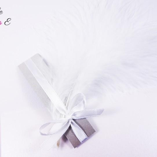 faire-part plume blanc irisé argent 3bis