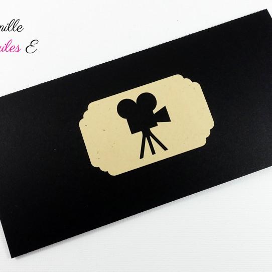 faire-part pochette ticket cinema vintage noir kraft 1