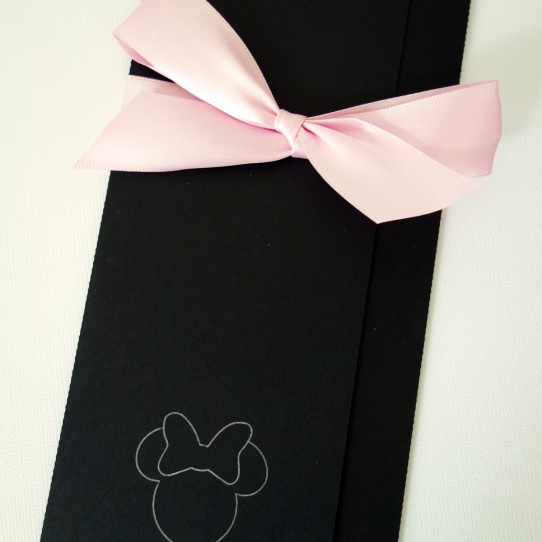 faire-part minnie ruban noir rose 1