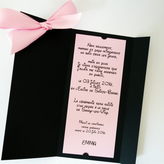 faire-part minnie ruban noir rose 2