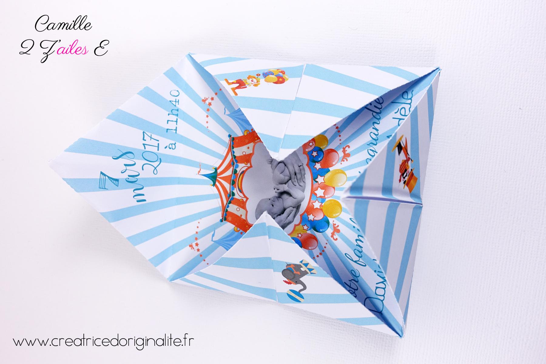 Bevorzugt Faire-part de naissance Cocotte – thème cirque | Camille 2 z  ID95