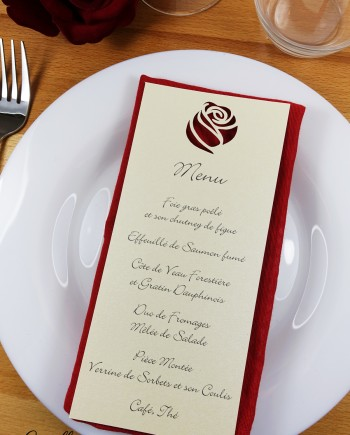 menu rose ivoire irisé