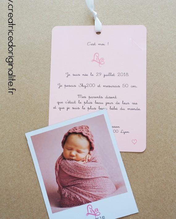 faire-part naissance magnet photo polaroid fille 1