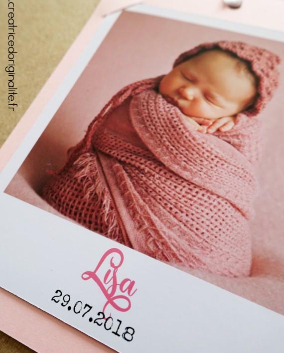 faire-part naissance magnet photo polaroid fille 2