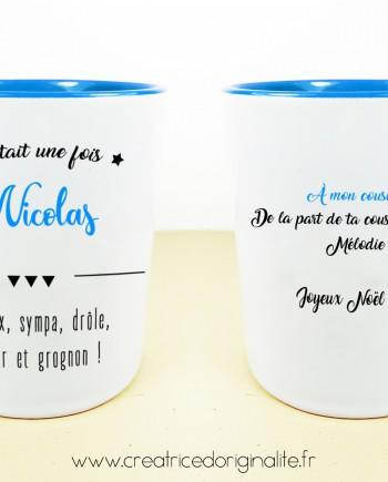 tasse mug bleu prenom personnalise noel