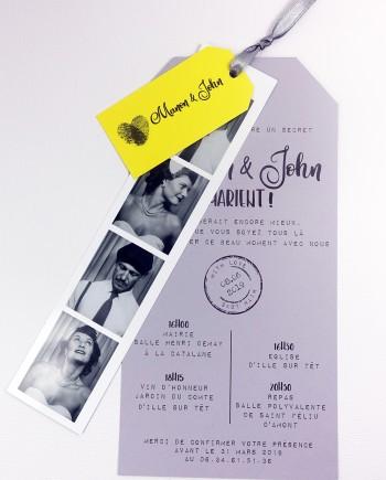 faire-part photomaton with love gris jaune 1