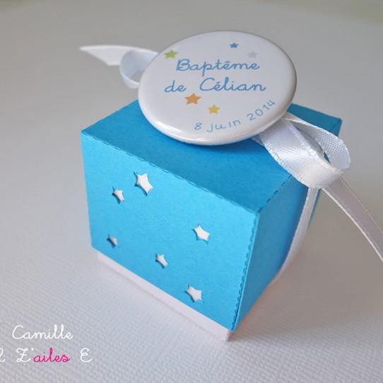 boite double étoile bleu turquoise blanc