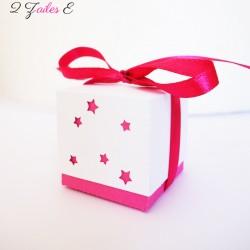 boite double étoile fuchsia blanc