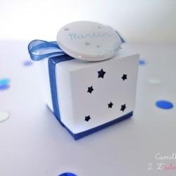 boite double badge étoile bleu nuit blanc