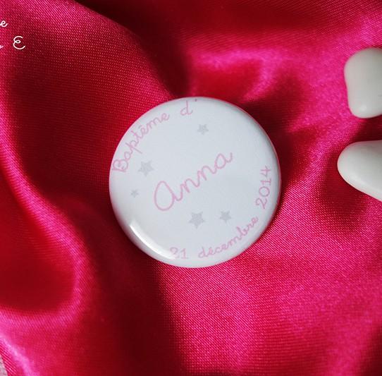 badge étoile rose gris