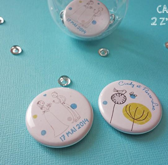 badge magnet 32 couple oiseau dessin mariage