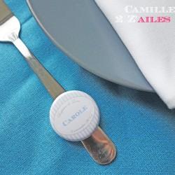 badge magnet 32 marque-place rayure blanc bleu clair
