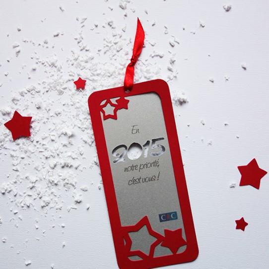 carte voeux 2015 marque-page étoilé rouge argent 1