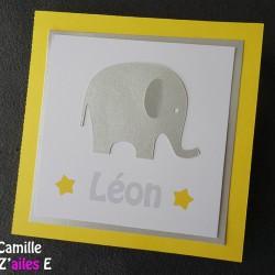 faire-part éléphant jaune argent 1