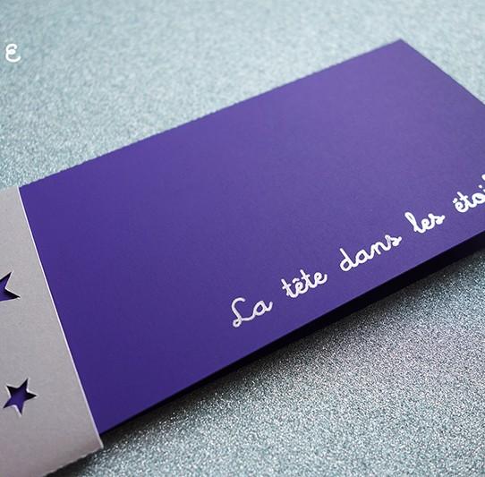 faire-part long bandeau étoile violet 1