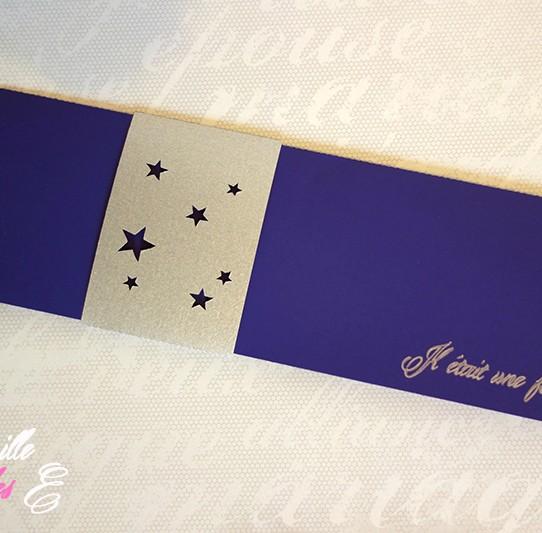 faire-part long bandeau étoile violet 3