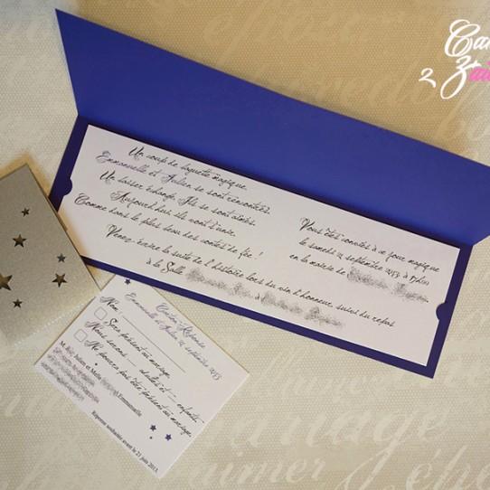 faire-part long bandeau étoile violet 5