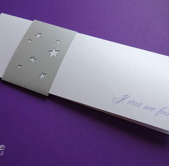 faire-part long il était une fois bandeau étoile blanc irisé argent violet 1