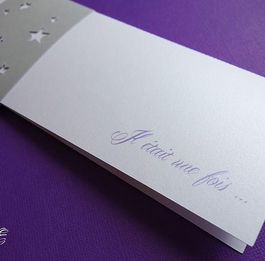 faire-part long il était une fois bandeau étoile blanc irisé argent violet 2