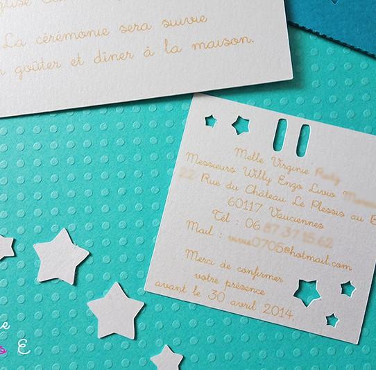 faire-part pochette carré étoile bleu bermude blanc irisé jaune tournseol 2
