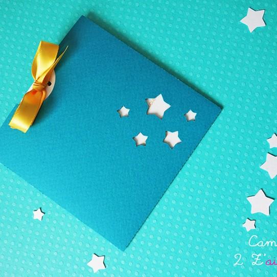 faire-part pochette carré étoile bleu bermude blanc irisé jaune tournseol 3