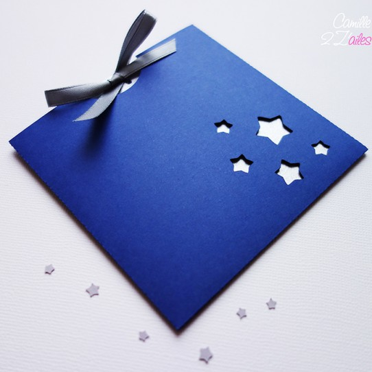 faire-part pochette carré étoile bleu nuit blanc 1