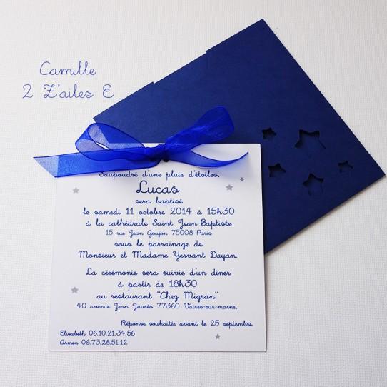 faire-part pochette carré étoile bleu nuit blanc 2