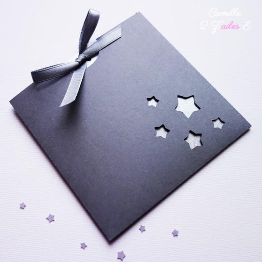 faire-part pochette carré étoile gris anthracite argent 1