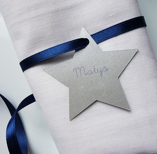 marque-place étoile bleu nuit argent