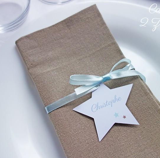 marque-place étoile ruban blanc bleu pastel taupe