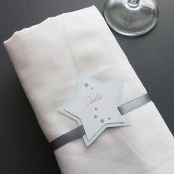 marque-place étoile ruban bleu pastel gris