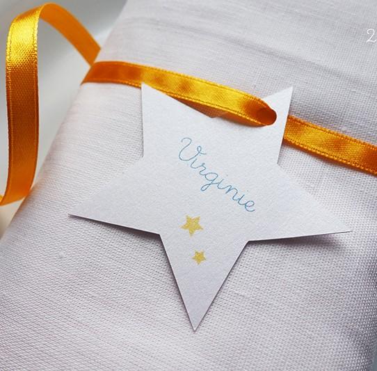 marque-place étoile tournesol bleu bermude