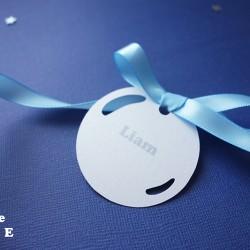 marque-place bulle blanc irisé bleu clair